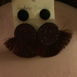 Brown Fashion Earrings with studs & brown fringe.
